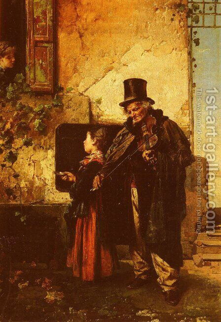 The Old Musician by Domenico Induno - Reproduction Oil Painting
