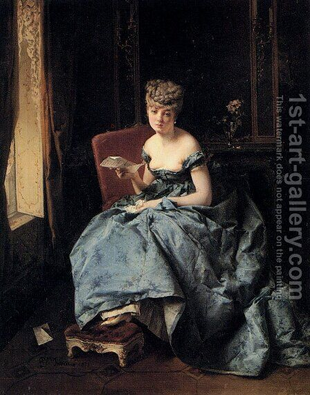 The Letter by Domenico Induno - Reproduction Oil Painting