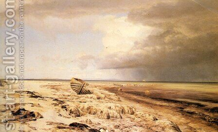 Deserted Boat on a Beach by Janus Andreas Bartholin La Cour - Reproduction Oil Painting