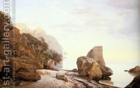 Rocks Along the Shore by Janus Andreas Bartholin La Cour - Reproduction Oil Painting