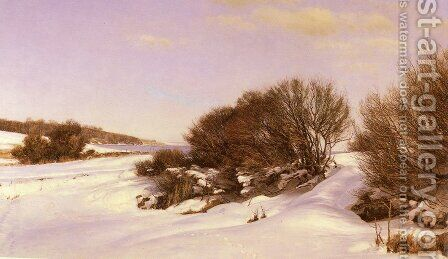 Winter Near The Lake by Janus Andreas Bartholin La Cour - Reproduction Oil Painting