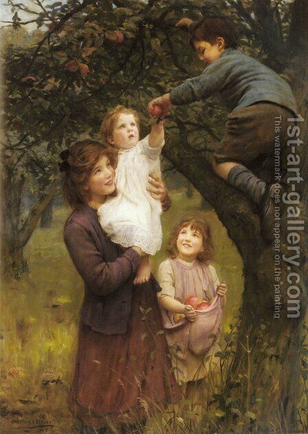 Picking Apples by Arthur John Elsley - Reproduction Oil Painting
