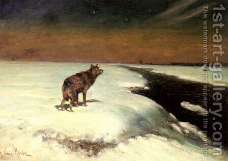 The Wolf by Alfred Wierusz-Kowalski - Reproduction Oil Painting