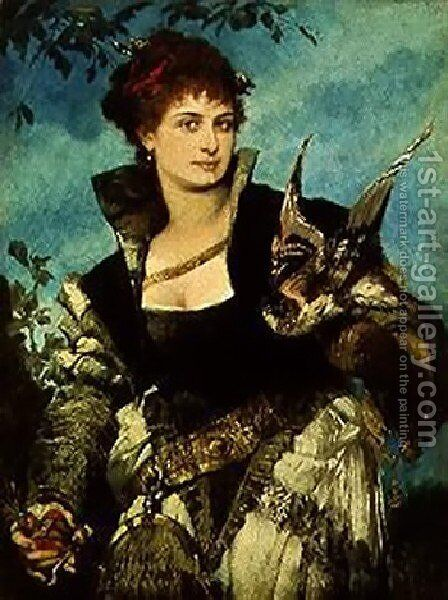 Die Falknerin (The Falconress) by Hans Makart - Reproduction Oil Painting