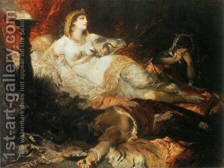 Der Tod der Kleopatra (The Death of Cleopatra) by Hans Makart - Reproduction Oil Painting