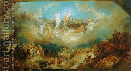 Die Versenkung des Nibelungenhortes in den Rhein (Sinking of the Nibelung stronghold into the Rhine) by Hans Makart - Reproduction Oil Painting