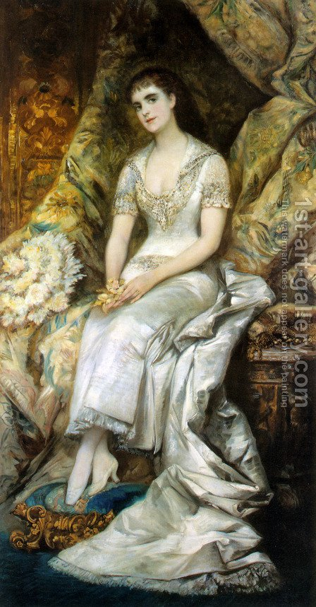 An Elegant Lady by Hans Makart - Reproduction Oil Painting