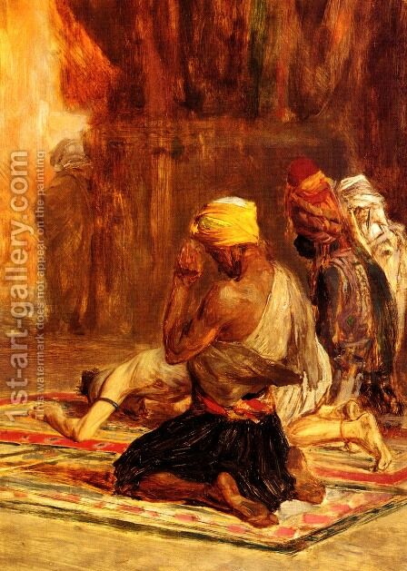 Priere dans La Mosquee (Prayer in a Mosque) by Charles Bargue - Reproduction Oil Painting
