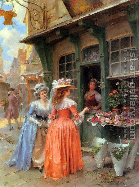 The Flower Market by Henri Victor Lesur - Reproduction Oil Painting