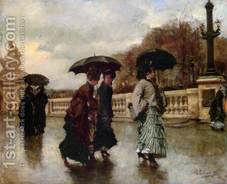 Elegantes sous la pluie by Eduardo León Garrido - Reproduction Oil Painting