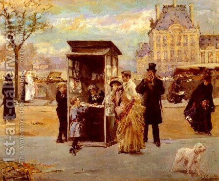The Kiosk by the Seine by Eduardo León Garrido - Reproduction Oil Painting