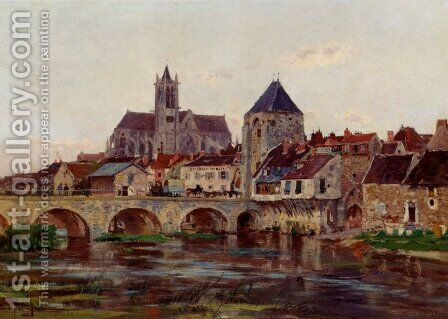 View Of Moret-Sur-Loing by Edmond Marie Petitjean - Reproduction Oil Painting
