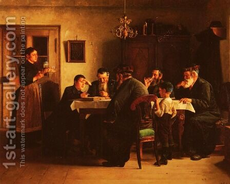 Discussing The Talmud by Isidor Kaufmann - Reproduction Oil Painting