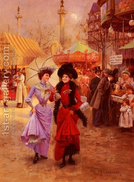 La Foire Du Trone, Place De La Nation A Paris (The Trone Fair, Place de la Nation at Paris) by Basile Lemeunier - Reproduction Oil Painting