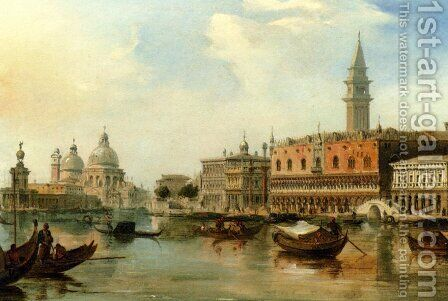 The Bacino, Venice, With The Dogana, The Salute And The Doge's Palace by Edward Pritchett - Reproduction Oil Painting