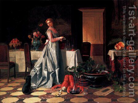 Preparing The Banquet by David Emil Joseph de Noter - Reproduction Oil Painting
