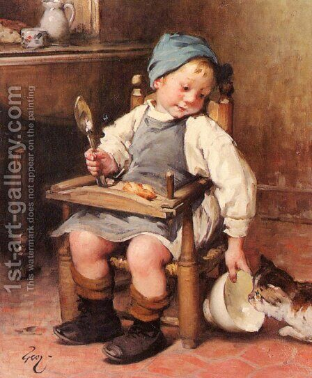 Sharing a Meal by Henri-Jules-Jean Geoffroy (Geo) - Reproduction Oil Painting