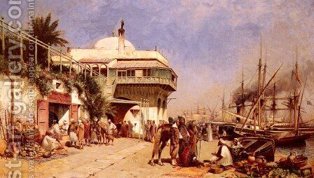 The Port Of Algiers by Alfred Wordsworth Thompson - Reproduction Oil Painting