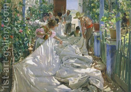 Cosiendo la vela (Sewing the Sail) by Joaquin Sorolla y Bastida - Reproduction Oil Painting