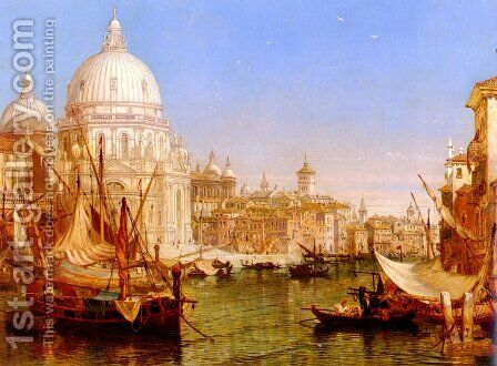 A View Along The Grand Canal With Santa Maria Della Salute by Henry Courtney Selous - Reproduction Oil Painting