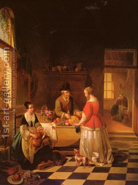 The Fruit Seller by Alexis van Hamme - Reproduction Oil Painting
