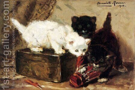 Kittens At Play by Henriette Ronner-Knip - Reproduction Oil Painting