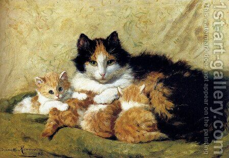 A Proud Mother by Henriette Ronner-Knip - Reproduction Oil Painting