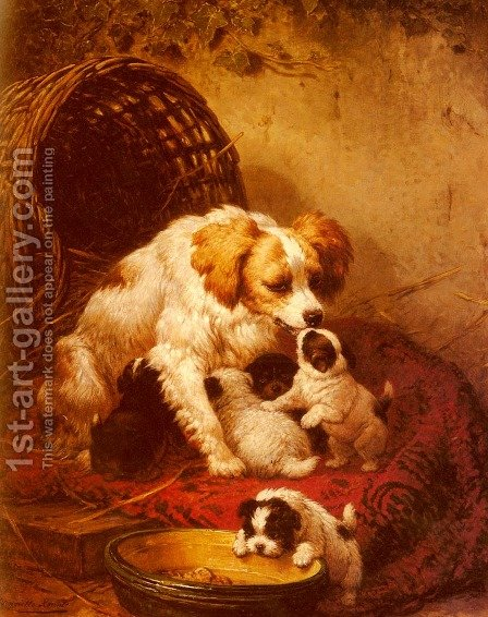 The Happy Family by Henriette Ronner-Knip - Reproduction Oil Painting