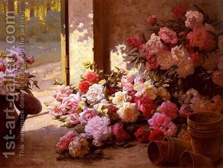Jete De Fleurs Et Arrosoir (Freshly Picked Flowers With A Watering Can) by Edmond-Louis Maire - Reproduction Oil Painting