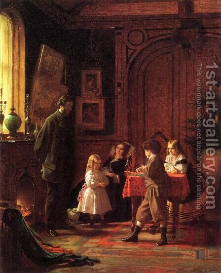 Christmas-Time, The Blodgett Family by Eastman Johnson - Reproduction Oil Painting