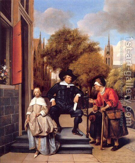 A Burgher of Delft and His Daughter by Jan Steen - Reproduction Oil Painting