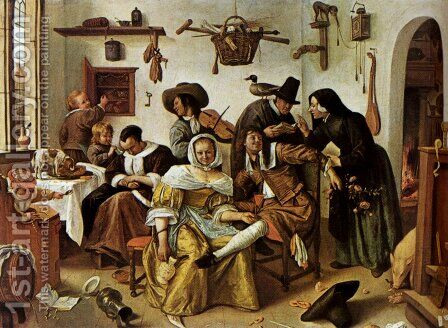 Beware Of Luxury by Jan Steen - Reproduction Oil Painting