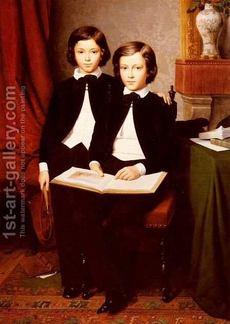 A Portrait Of Two Boys With A Sketchbook by Jean-Baptiste Auguste Leloir - Reproduction Oil Painting