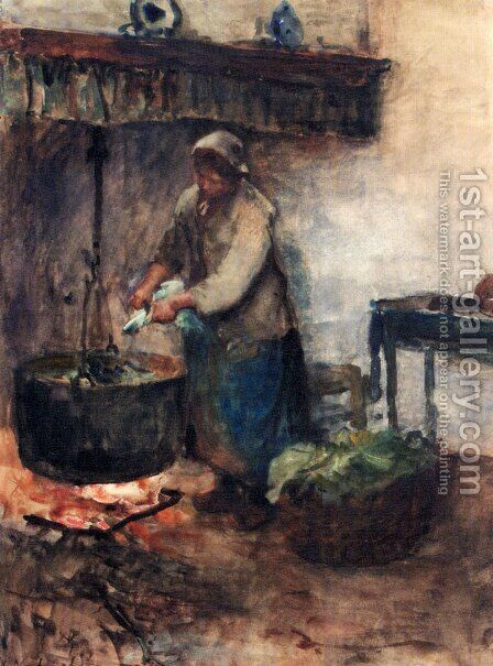 A Cottage Interior With A Peasant Woman Preparing Supper by Albert Neuhuys - Reproduction Oil Painting