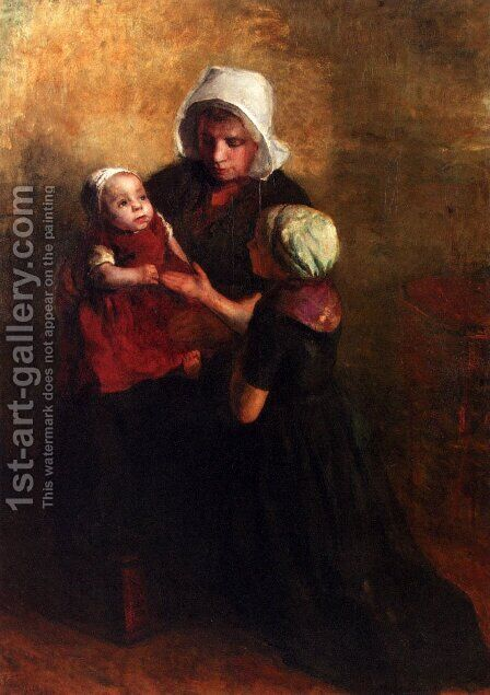 Playing With Little Sister by Albert Neuhuys - Reproduction Oil Painting