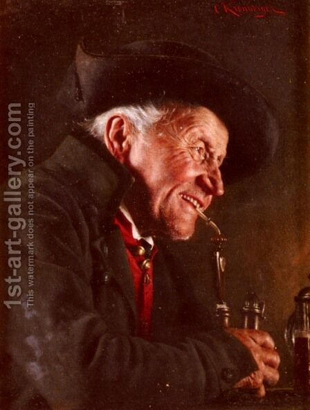 A Portrait Of A Man In A Tavern by Carl Kronberger - Reproduction Oil Painting