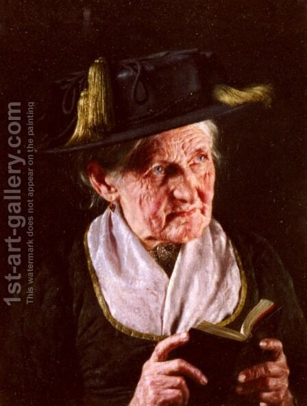 A Portrait Of A Woman With A Book Of Prayer by Carl Kronberger - Reproduction Oil Painting