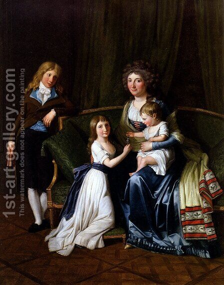 Portrait Of A Family In An Interior by Henri Pierre Danloux - Reproduction Oil Painting