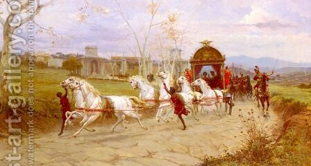 Hadrian's Departure From The Villa At Tivoli by Eduardo Forti - Reproduction Oil Painting