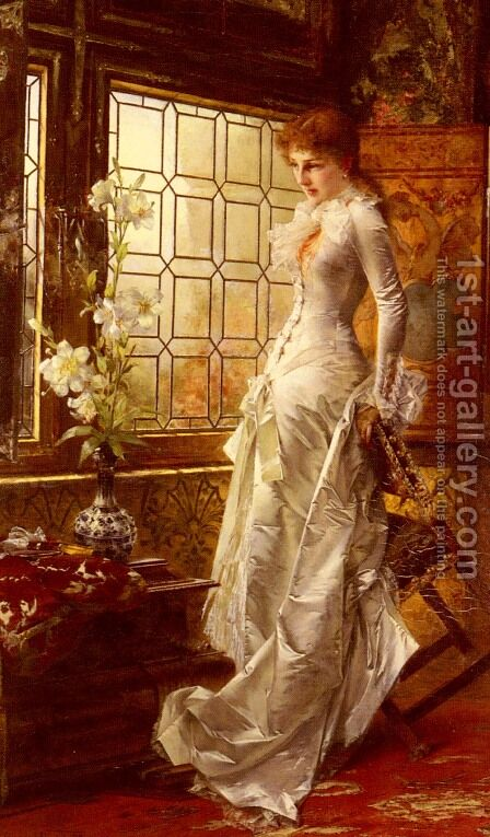 At The Window by Conrad Kiesel - Reproduction Oil Painting