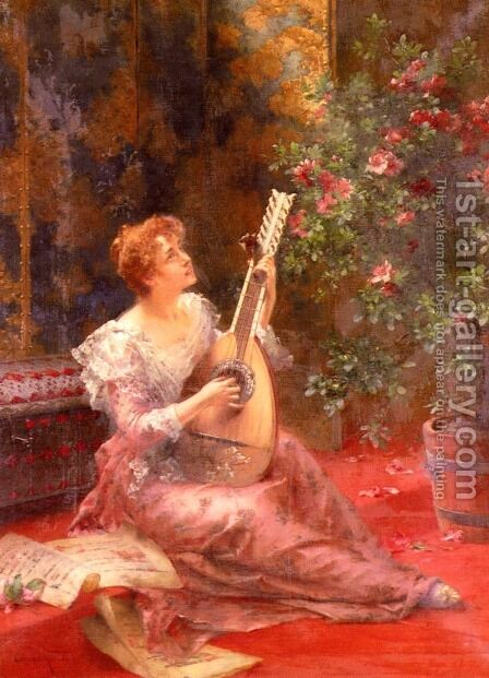 The Lute Player by Conrad Kiesel - Reproduction Oil Painting