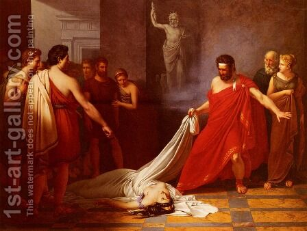 Egisthe, Croyant Decouvrir Le Corps D'oreste Mort, Decouvre Celui De Clytemnestre (Egisthe, Believing he has Found the Body of Orestes, to his Surprise Finds Clytemnestra) by Charles Auguste van den Berghe - Reproduction Oil Painting