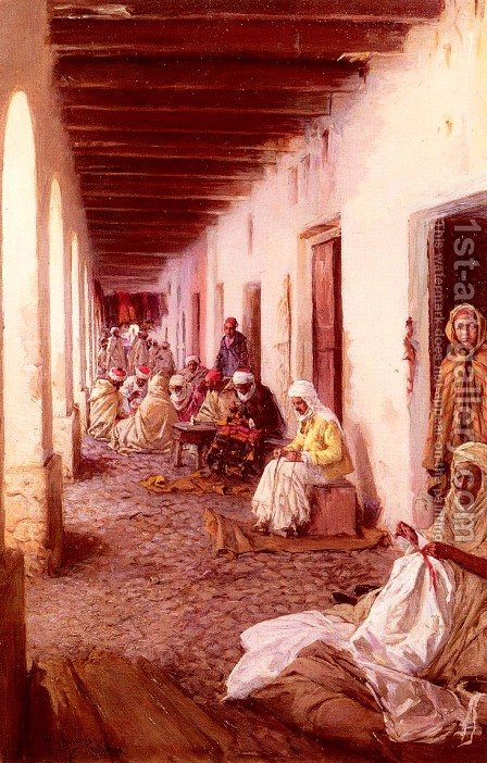 A Street In Biskra, Algeria by Gustavo Simoni - Reproduction Oil Painting
