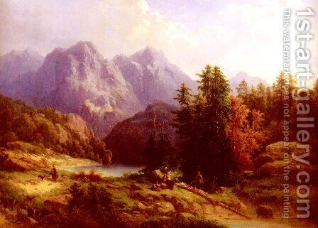 Woodsman And Family In An Alpine Landscape by H. Baumgartner - Reproduction Oil Painting