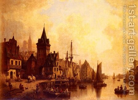 A Busy Port by Hermann Meyerheim - Reproduction Oil Painting