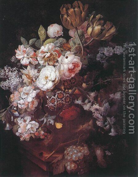 Vase with Flowers by Jan Van Huysum - Reproduction Oil Painting