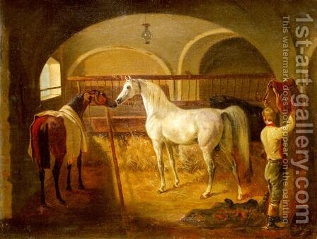 Stallinneres (Inside the Stable) by Jacques Laurent Agasse - Reproduction Oil Painting