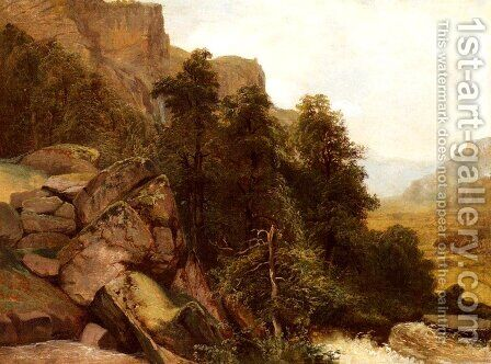 Landschaftsstudie (Landscape study) by Alexandre Calame - Reproduction Oil Painting