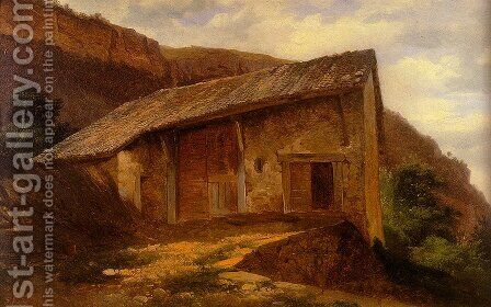 A Farm House On The Side Of A Mountain by Alexandre Calame - Reproduction Oil Painting