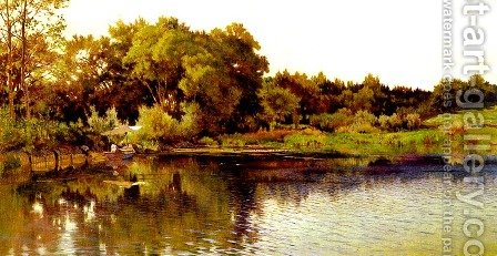 Bord Du Lac (Edge of the Lake) by Arthur Calame - Reproduction Oil Painting
